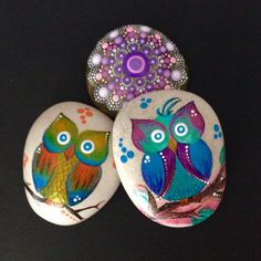 Hand Painted Stone Owl Decoration Painted by CreateAndCherish