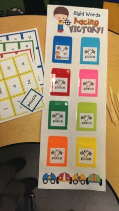 This is a great way to get students to learn their sight words. They start with the yellow cards (8th place) and work themselves up to 1st place (Blue). You can give them some rewards for each goal met. The words used in this pack are Fry's first 100 words. Words are in 8 different groups made up of 12 to 13 words per set. ---- By Teaching By the Beach
