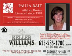 Ad Design Examples - Keller Williams Paula Rait Image Marketing Pros 615-200-7717 Nashville 865-291-0373 Knoxville