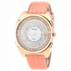 44f65cd48fa Reloj de cuarzo de moda correa de cuero de la chispa del diamante de la  señora