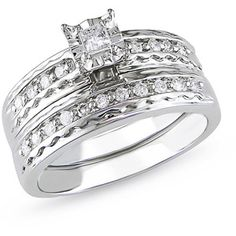 1/3 Carat T.W. Princess Cut Diamond Bridal Set in 14kt White Gold