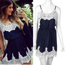 1 pcs mulheres lace patchwork preto bonito vestidos mulheres vestido de verão branco Worldwide(China (Mainland))