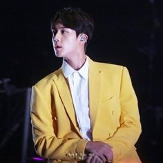 """""""seokjin in this yellow suit"""" Jinyoung, Seokjin, Hoseok, Namjoon, Kdrama, Car Door Guy, Yellow Suit, Bts Aesthetic Pictures, Bts Concert"""