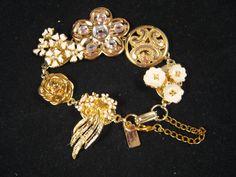 Reclaimed Vintage Earring Bracelet  Flower by JenniferJonesJewelry, $37.50