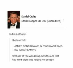 IS THIS DFJKFSNF OHMYGO<<Well anyone who's ever seen the movies knows that Agent Bond can be pretty weak minded. He doesn't even bother with code names...