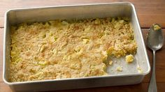 3-Ingredient Apple Dump Cake- super easy, but tastes like apple crisp. Great served warm with ice or whipped cream.