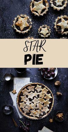 Star Pie has it all. A tender crust, sweet and crunchy filling, warm spices, and above all nostalgic flavors. |#pie #starpie #figrecipe #grapedessert #bookclub #bakersbookclub #mincepierecipe #tendercrustrecipe #minipierecipe #prunespie #driedfruitrecipe #fruitpie |