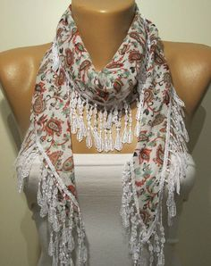 White and Red Flowered Elegance Shawl