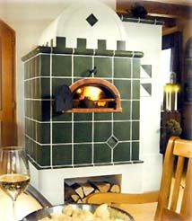 Tile stove with baking compartment. Old technology that is extremely fuel efficient.