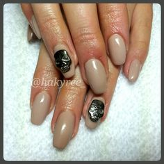 Nude Squaletto/Tapered Square Coffin Shape gel nails with 3D Skulls ♥ Follow me on Instagram @hakyree_