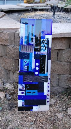 Large blue colored fused glass art piece  by FridayDesigns2012, $250.00