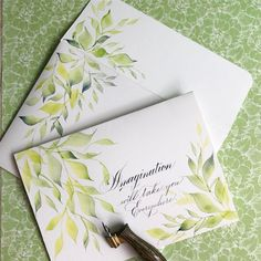 """654 Likes, 26 Comments - Sue (@oliveleafcalli) on Instagram: """"This matching watercolor and calligraphy envelope and card set was so fun to work on. #spencerian…"""""""