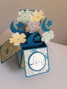 Handmade Happy Eid card, Eid Mubarak pop up card, Happy Ramadan, Ramadan Kareem, Muslim Festivals card in a box Diy Eid Cards, Craft Projects, Projects To Try, Happy Eid, Paper Crafts, Card Crafts, Gift Quotes, All Paper, Eid Mubarak