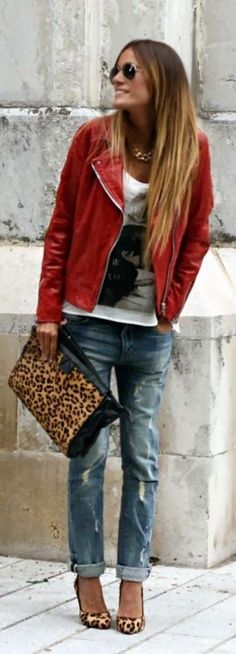 Street styles red leather jacket- MINUS the leopard print to suit my style!