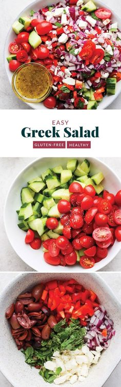 vegan recipes healthy recipes to meal prep crock pot recipes 8 hours recipes low sodium recipes for 8 year olds recipes recipes japanese recipes and shopping list Salad Recipes Gluten Free, Greek Salad Recipes, Vegetarian Recipes Easy, Healthy Summer Recipes, Summer Salad Recipes, Healthy Salad Recipes, Healthy Lunches, Dinner Healthy, Healthy Foods