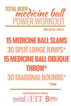 Looking for a few total body medicine ball exercises to add to your next workout? These power moves will get your heart pumping and muscles working. Check out the latest installment of this month's Inspired To Be Fit.