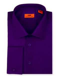 Men's Dress Shirt by Steven Land - Spread Collar Purple