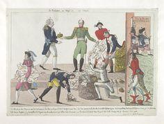 April 1814.Bodleian Libraries,La restitution, ou-chaqu'un son compte.French political cartoon;Approx.date from BMSat. References:De Vinck, No.9335.