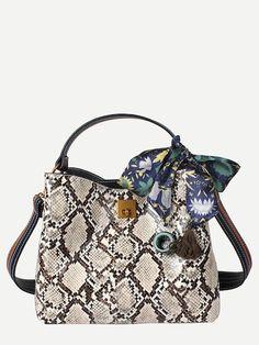 89bd11fafc1 Snake Print Shoulder Bag With Scarf Tassel