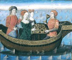 Gli scacchi nella pittura # Tristano e Isotta bevono il filtro d'amore (XIV sec)