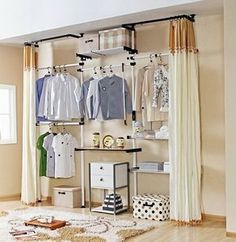 wardrobe with curtain Dressing Room In A Tiny Apartment