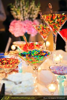 serving candy in huge martini glasses.cute for candy buffet! I will have this at my wedding! Candy Table, Candy Buffet, Dessert Table, Candy Dishes, Wedding Table, Wedding Reception, Wedding Ideas, Wedding Poses, Trendy Wedding