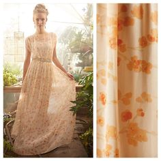 Anthropologie X Paper Crown peach blossom maxi SM Super cute spring ready Anthropologie X Paper Crown peach blossom maxi dress size small. Delicately draped bodice with daintly floral print, silky feeling maxi from paper crown designer Lauren Conrad. Pullover style, polyester, falls 58' from shoulder. DOES NOT include slip. no slip. Retails at $248. In great used shape worn only a few times! Anthropologie Dresses Maxi