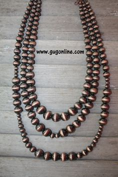 Navajo Pearl Like Metallic Copper Ball Three Stranded Necklace Set $19.95 www.gugonline.com