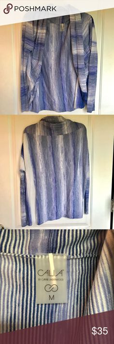 Discontinued Calia by Carrie Underwood Cardigan Never worn! This cardigan is very soft and light weight and layers up at the top. It is blue and white, 53% cotton, 36% modal, 8% nylon, and 3% cashmere. Perfect paired with a tank, leggings, and tennis shoes in the fall weather! CALIA by Carrie Underwood Tops