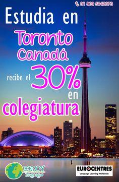 #PromocióndelDía, estudia en #Toronto Canadá con @Eurocentres y ¡recibe un increíble 30% de descuento! No dejes pasar esa gran oportunidad! Estamos a tus órdenes, solicita más información sin compromiso: 01 800 5042073 #EnjoyLanguages  #Travel #Explore #EstudiaenelExtranjero
