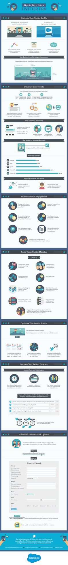 Twitter is a great tool for marketing, but are you getting the most out of your profile? This infographic (produced by Salesforce) will teach you key ways to optimize your Twitter profile (both for individuals and for brands), best practices for tweet structure, and how to increase engagement.