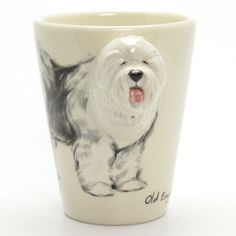 http://www.muddymood.com  Original hand sculpt and hand paint   Old English Sheepdog Dog Ceramic Mug Handmade.