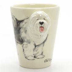 http://www.muddymood.com Original hand sculpt and hand paint Old English Sheepdog Dog Ceramic Mug Handmade.