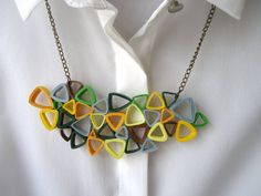 Quilled Necklace Geometric Necklace Quilled by KaattanStudio
