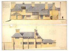 C.F.A. Voysey Architechture Postcard: Arts & Crafts House designs gray roof,   | eBay