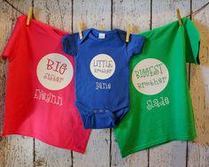 Big/Little Brother/Sister Personalized Shirt Older Siblings, Sibling Shirts, Baby E, Vinyl Shirts, Big Little, Personalized Shirts, Matching Shirts, Brother Sister, Family Photos