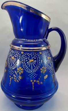 Antique Cobalt Blue Hand Painted Pitcher.
