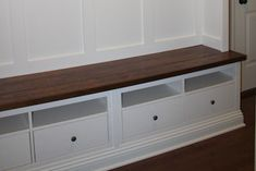 Using Ikea Hemnes TV cabinet - need something like this to make banquette seating Entryway Bench Ikea, Mudroom Storage Bench, Ikea Bench, Storage Bench Seating, Entryway Storage, Bench With Storage, Entry Bench, Storage Ideas, Mudroom Cubbies