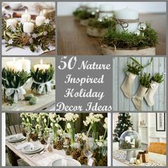 There is something magical and beautiful about bringing the outside in. I love adding natural elements to decor and the holidays are no exception. I went on a quest to the most awe inspiring nature inspired winter decor and came up with quite a collection! Enjoy! Greenery filled stockings from Room Service   Stockings …