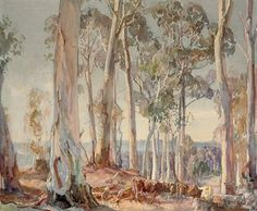 Hans Heysen (1877-1968)  A group of white gums, summer afternoon, Hahndorf