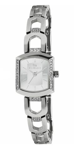 Fashion watch for ladies. Brushed silver tone dial in a crystal accented case…