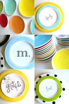 colorful dishware to match my indecisiveness and inability to ever settle with one color Ceramic Cafe, Ceramic Plates, Pottery Painting, Ceramic Painting, Clay Projects, Diy Projects To Try, Creative Crafts, Diy Crafts, Pottery Designs