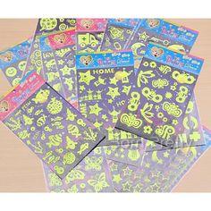 $1.99 1Box Luminescent Cartoon Sticker Cute Ornament Mark (Random Color) - BornPrettyStore.com