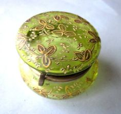 Antique lime green Bohemian glass trinket box raised enamel decoration Moser | eBay