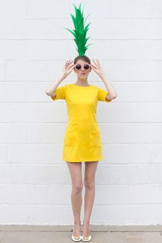 PINEAPPLE: The only requirements for this fruity costume — a yellow dress, green construction paper, and a headband. See the step by step instructions and expert tips here. And find more Halloween fun and costume inspiration at Cosmopolitan.com.