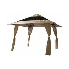 E-Z UP, Veranda 12 ft. x 12 ft. Instant Shelter Canopy in Khaki, 159594 at The Home Depot - Mobile Pergola Carport, Gazebo Pergola, Steel Pergola, Pergola Garden, Pergola With Roof, Cheap Pergola, Pergola Ideas, Patio Roof, Patio Ideas