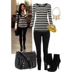 Aria Montgomery Inspired - blackwhite stripe style