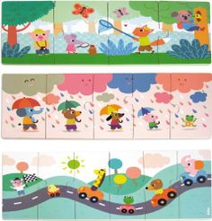Vilac Melusine's Three Wood Puzzles by Vilac. $26.90. Vilac has been the maker of high quality, award winning toys since 1911. Just the right size for little hands. Highest quality finish, with rich, bright colors. Designed in France. Three wood puzzles by Melusine that get increasingly difficult. There are a 4 pieces, 5 piece and 6 piece puzzle in this set that fit back into a brightly illustrated storage box. This product is made by the well-respected toy makers Vila...