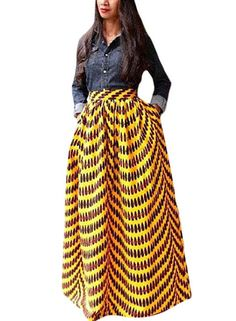 f3a61b0899 Women s African Printed Pleated Maxi Skirt High Waist A Line Dress at  Amazon Women s Clothing store