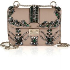 Valentino Crystal-embellished leather shoulder bag ($2,395) ❤ liked on Polyvore featuring bags, handbags, shoulder bags, clutches, valentino, bolsas, purses, genuine leather handbags, leather purse and handbags purses